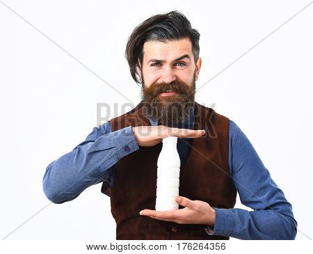 Bearded Man Holding Bottle Of Kefir With Happy Face