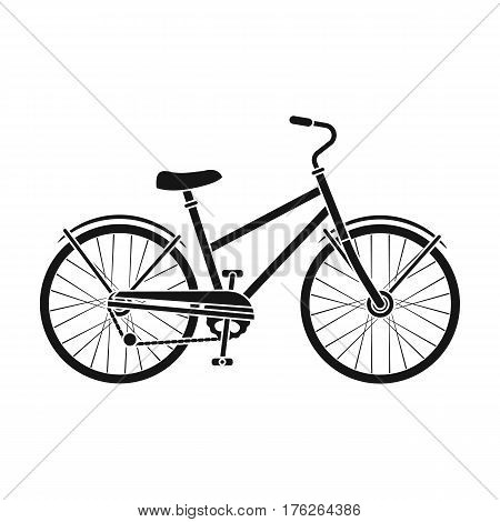 Rural women s bicycle. The vehicle of a healthy lifestyle.Different Bicycle single icon in black style vector symbol stock web illustration.