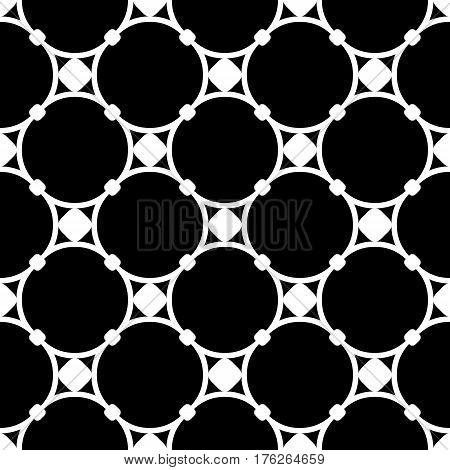 Vector monochrome seamless pattern, subtle geometric texture illustration of delicate mesh, round lattice with nodes. Black & white simple abstract repeat background. Stylish dark design element