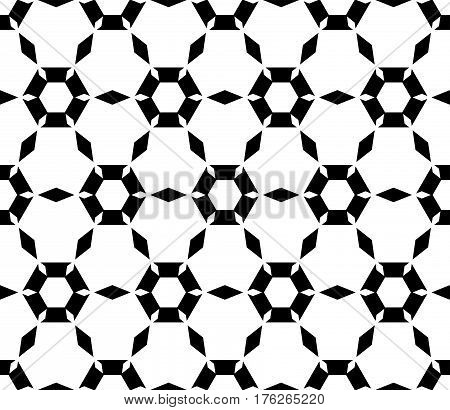 Vector monochrome texture, simple geometric seamless pattern. Symmetric hexagonal grid, perforated hexagons, rhombuses. Abstract black & white background. Design for prints, decoration, textile, wrapping, fabric, cloth