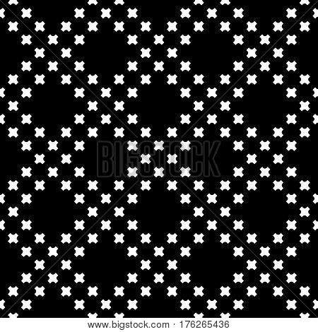 Vector monochrome seamless texture, black & white geometric pattern with simple figures, small rounded crosses. Stylish dark abstract background, repeat tiles. Design for decoration, textile, digital, fabric, prints