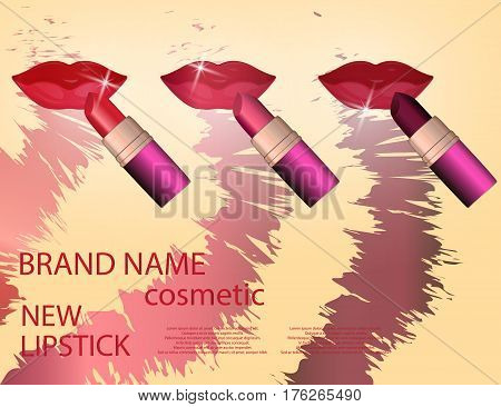 Glamorous colorful lipstick set on the sparkling effects background. Mock-up 3D Realistic Vector illustration for design template