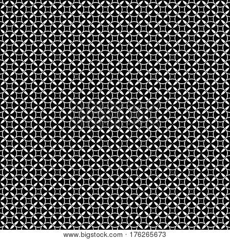 Vector monochrome seamless pattern. Simple black & white repeat geometric texture. Illustration of tapes, spools. Abstract dark endless background. Design for decoration, prints, textile, wrapping, fabric