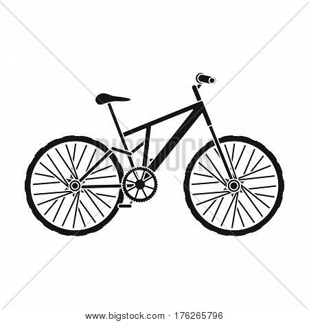 Mountain bike. Cycling downhill from the mountains.Different Bicycle single icon in black style vector symbol stock web illustration.