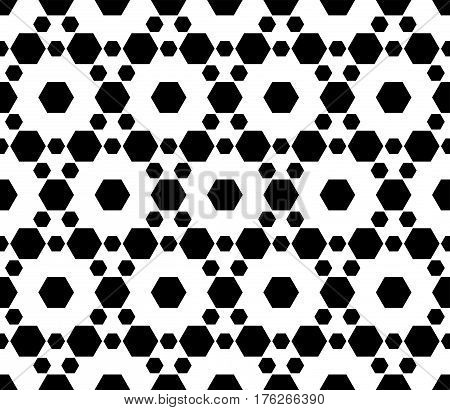 Vector monochrome seamless pattern. Simple modern geometric texture with small hexagons. Pattern with hexagonal grid lattice. Repeat black & white abstract background. Design for prints, decoration, textile, fabric, cloth, furniture, wrapping