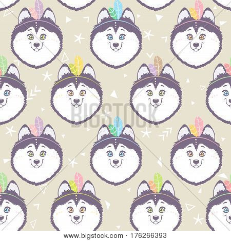 Seamless pattern with character cute and funny husky dog with feathers in ethnic style. Vector illustration. Cool stylish wallpaper
