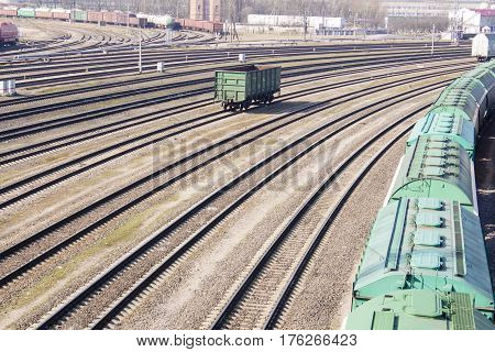 industrial view with lot of freight railway trains waggons.