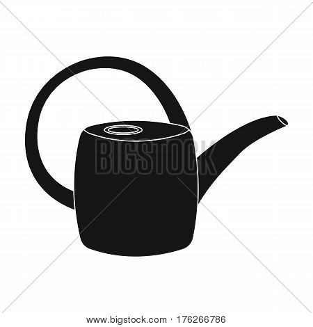 Green plastic watering can for watering flowers in the garden.Farm and gardening single icon in black style vector symbol stock web illustration.
