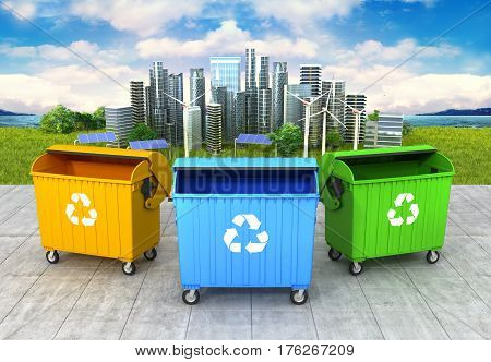 concept of a clean environment. Three refuse container on the clean and green city background. 3D illustration
