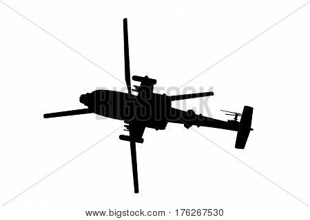 helicopter gunship silhouette illustration on a white background