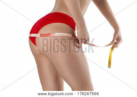 Ideal woman's abdomen and hips - perfect anti-cellulite and skin care therapy program. Isolated on white.