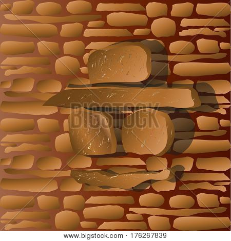 The face of a stone man on the wall Abstract author design on a background of stone masonry man in a hat and glasses smile portrait with a shadow stock vector illustration