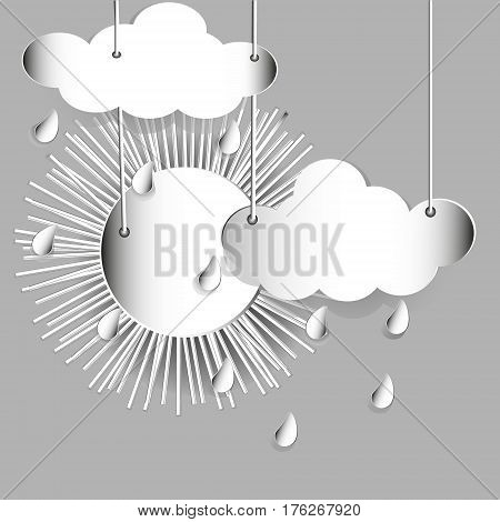 Sun clouds and rain Abstraction style appliqué white paper luminous drops of sulfur and white color weather author design stock vector illustration