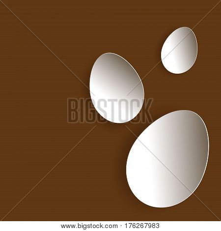 Three egg in braun Three Easter eggs paper design on a brown background
