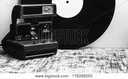 Black And White Retro Camera.