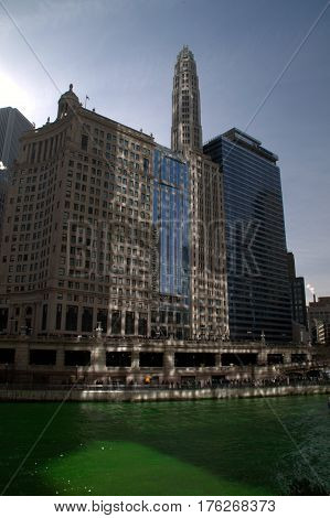 Chicago river green for Saint Patrick's Day and buildings along shoreline