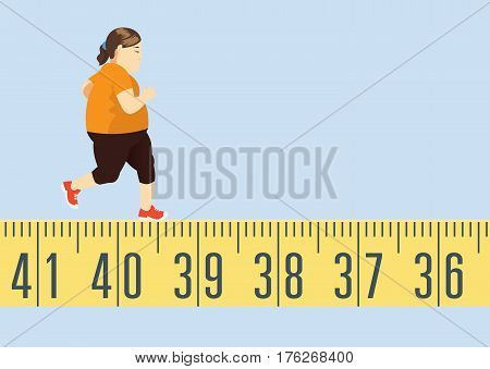 Fat woman jogging on tape measure for lose weight. This is exercise concept.