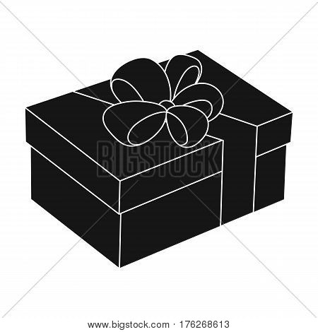 Blue gift for a holiday with an yellow bow.Gifts and Certificates single icon in black style vector symbol stock web illustration.