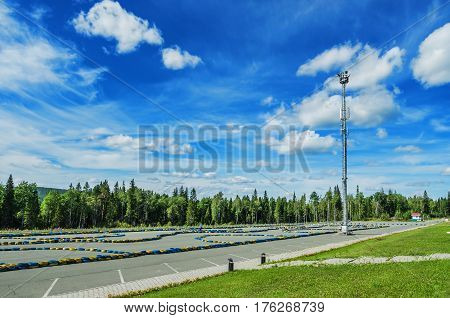 URALEC RUSSIA - AUGUST 06 2016: Infrastructure of ski resort