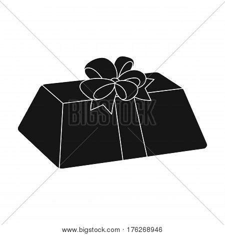 A flesh-colored gift with a red bow. Sweet present.Gifts and Certificates single icon in black style vector symbol stock web illustration.