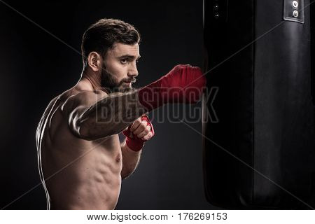 Boxer With Punching Bag