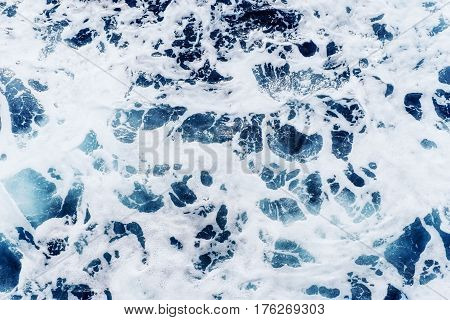 Atlantic Ocean With Blue Water On A Sunny Day. Waves, Foam And W