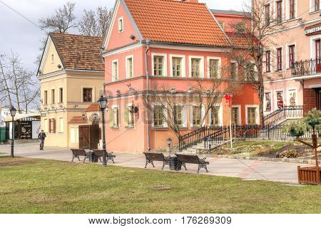 BELORUSSIA MINSK - March 11.2017: Pink houses on Trinity embankment in the historic center of the city