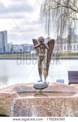 BELORUSSIA MINSK - March 11.2017: Sculpture Crying angel part of the memorial sanctified to the Belarusian soldiers-internationalists who died in Afghanistan in 1979-1989