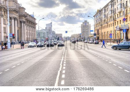 BELORUSSIA MINSK - March 11.2017: Independence Avenue is the main thoroughfare of the city crossing it from the center to the northeast