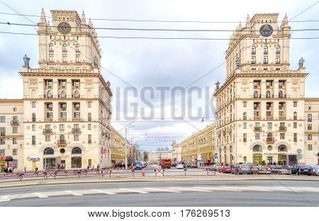 BELORUSSIA MINSK - March 11.2017: Two houses on Kirov Street. Gates of Minsk