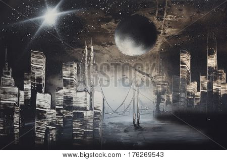 night city under light of bright star