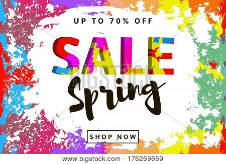Spring Sale colorful background with multicolor blots and creative text. Vector illustration