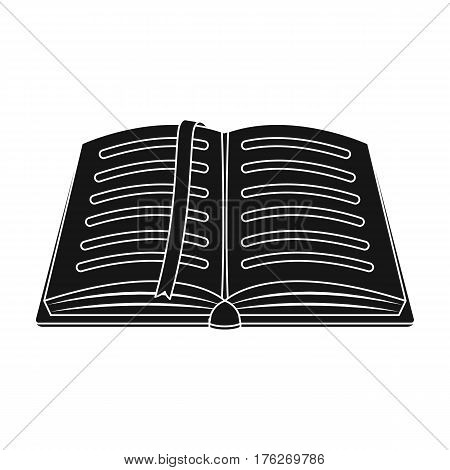 Opened notepad with pencil and pen in top view. Sketchbook or diary. Notebook with red bookmark. A notebook at school.School And Education single icon in black style vector symbol stock web illustration.