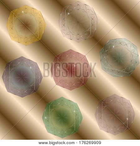 Gemstones set Picture seven multicolored transparent crystal correct shape flare top view author design for decoration and decoration stock vector illustration