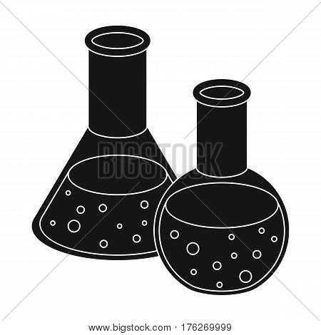 Flasks with reagents. Chemistry in school. Chemically, experiments.School And Education single icon in black style vector symbol stock web illustration.