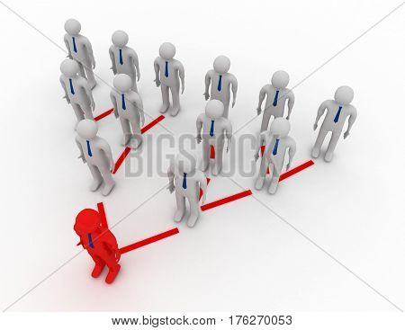3D Small People Standing Numbers As A Pyramid. 3D Image.
