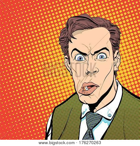 Portrait of scared man. Scared businessman. Surprised man. Concept idea of advertisement and promo. Pop art retro style illustration. People in retro style. Halftone background. Man's face.