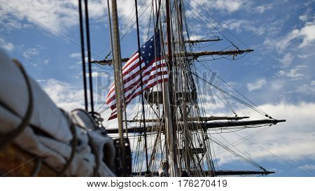 Tall Ships, Erie PA,  fleet, old glory, 13 stars, stars and stripes, Mast, sail and boom