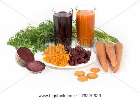 Vegetable Juice of Beet, Carrot, Tomatoes and Celery in High Glass isolated on white background