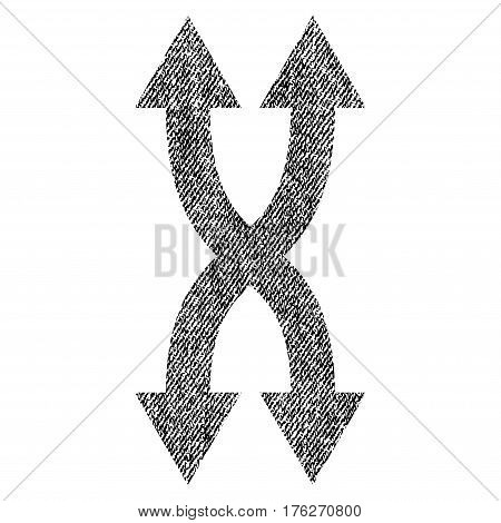 Shuffle Arrows Vertical vector textured icon for overlay watermark stamps. Fabric black vectorized texture. Symbol with scratched design. Rubber seal stamp with fiber textile structure.