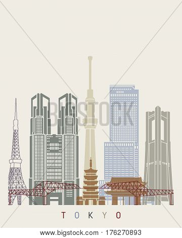 Tokyo V2 Skyline Poster