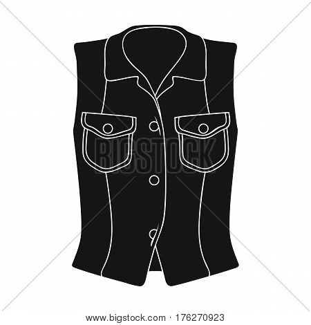 Women Sleeveless Sports Jacket .Beige button-down shirt without sleeves for the girl. Sport dress style.Women clothing single icon in black style vector symbol stock web illustration.