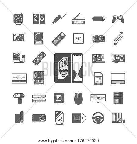 Black ad white icons set. PC components. Computer store. Assembling a Desktop Computer. Vector elements.