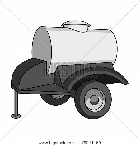 Black trailer on wheels with yellow barrel. Agricultural machinery for watering plants.Agricultural Machinery single icon in monochrome style vector symbol stock web illustration.