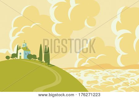 spring landscape with Village on the hill and sky with clouds and sea with mountain