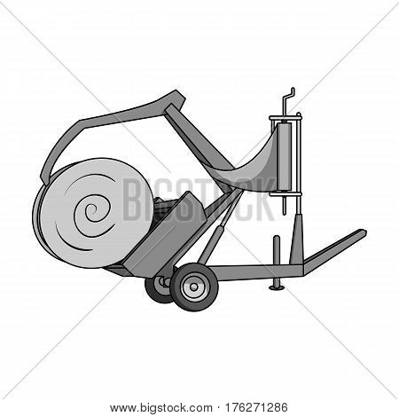 Modern agricultural machinery for  of hay and rolling circles.Agricultural Machinery single icon in monochrome style vector symbol stock web illustration.