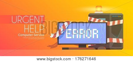Web flat vector banner on the theme: computer repairing.