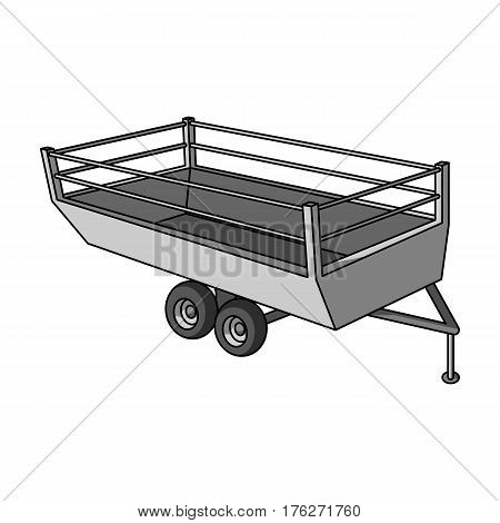 Grey trailer on wheels for transportation of farm animals.Agricultural Machinery single icon in monochrome style vector symbol stock web illustration.