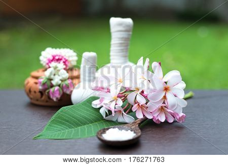 Spa massage compress balls herbal ball and treatment spa Thailand select focus flower