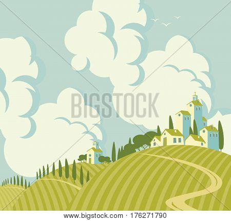 spring landscape with Village on the hills and sky with clouds